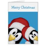 Pingüinos del navidad tarjeta de felicitación