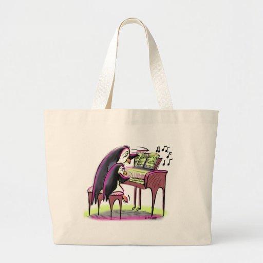 pingüinos del piano bolsa tela grande