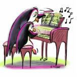 pingüinos del piano escultura fotográfica