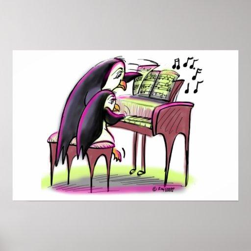 pingüinos del piano póster