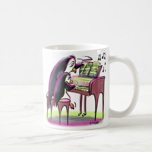 pingüinos del piano taza básica blanca