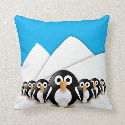 Pingüinos divertidos cojin