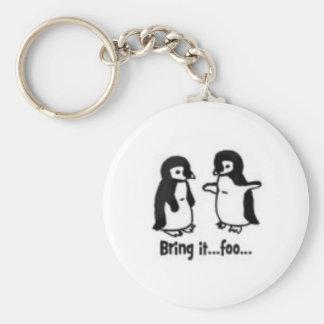 Pingüinos divertidos llavero redondo tipo pin