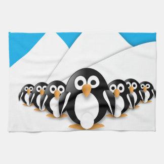 Pingüinos divertidos toalla de cocina