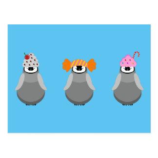 Pingüinos dulces tarjeta postal