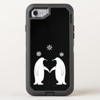 Pingüinos en amor con los copos de nieve funda OtterBox defender para iPhone 7