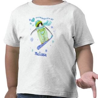 Pingüinos en el juego, snowboard, camiseta infanti
