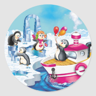pingüinos en la Antártida Pegatina Redonda