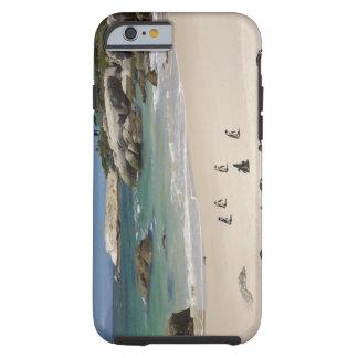Pingüinos en la playa de los cantos rodados, funda para iPhone 6 tough