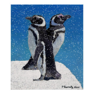 Pingüinos en las impresiones y el poster del arte