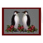 Pingüinos en nieve: Navidad de los pares: Acebo: A Felicitación