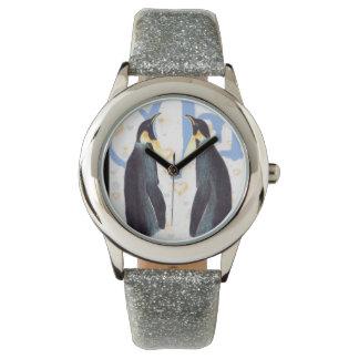 Pingüinos en reloj eWatchFactory del brillo del