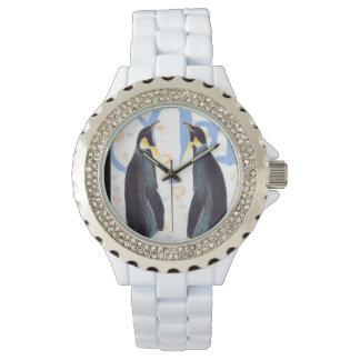 Pingüinos en reloj eWatchFactory del diamante
