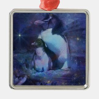 Pingüinos exóticos en smokinges adorno navideño cuadrado de metal