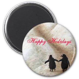 Pingüinos felices del día de fiesta imán redondo 5 cm