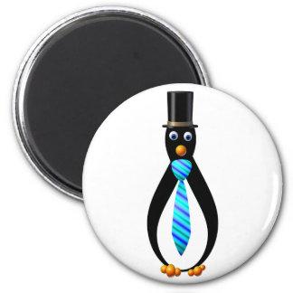 Pingüinos formales imán redondo 5 cm