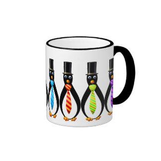 Pingüinos formales taza de dos colores