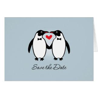 Pingüinos gay lindos que casan reserva la fecha tarjeta de felicitación