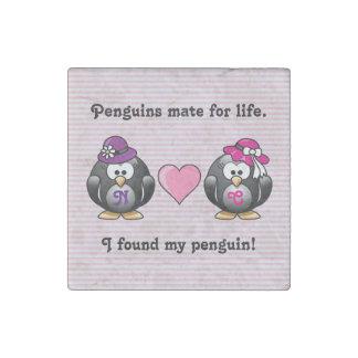 Pingüinos lesbianos adorables dos gorras del imán de piedra