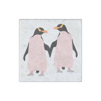 Pingüinos lesbianos del orgullo gay que llevan a imán de piedra
