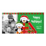 Pingüinos lindos de la tarjeta de la foto del navi plantilla para tarjeta de foto