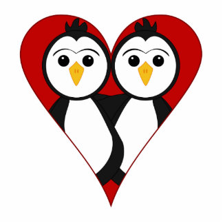 Pingüinos lindos del corazón escultura fotográfica