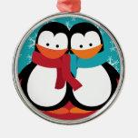 Pingüinos lindos del navidad ornamentos de reyes magos