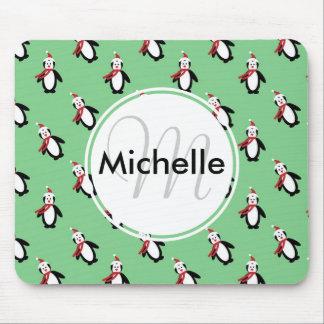 Pingüinos lindos del navidad mousepad