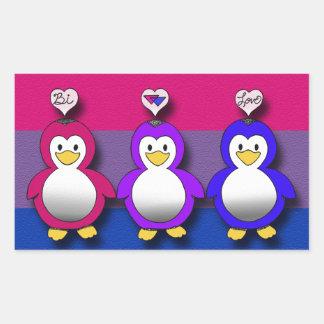 Pingüinos lindos del orgullo del BI del amor del Pegatina Rectangular