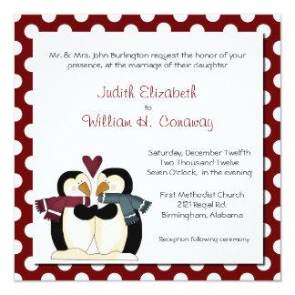 Pingüinos lindos en la invitación del boda del invitación 13,3 cm x 13,3cm
