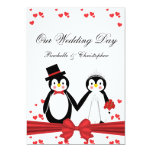Pingüinos lindos novia y invitaciones del boda del invitación 12,7 x 17,8 cm