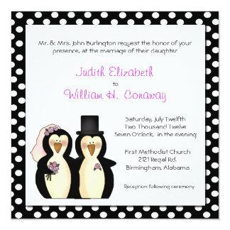 Pingüinos lindos que casan la invitación