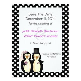 Pingüinos lindos que casan reserva la invitación invitación 10,8 x 13,9 cm