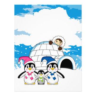 Pingüinos lindos y aviador esquimal tarjetas informativas