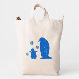 Pingüinos: Madre y polluelo Bolsa De Lona Duck