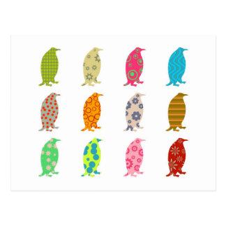 Pingüinos modelados tarjetas postales