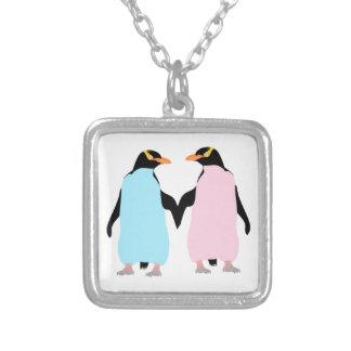 Pingüinos, pájaros del amor collar plateado