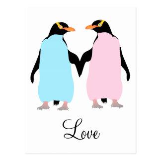 Pingüinos pájaros del amor tarjetas postales