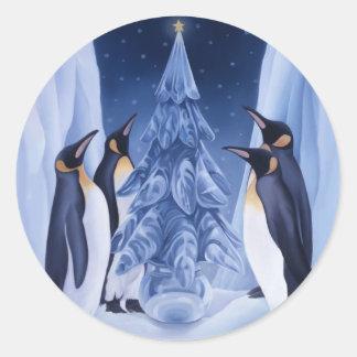 Pingüinos/pegatina del árbol del hielo pegatina redonda
