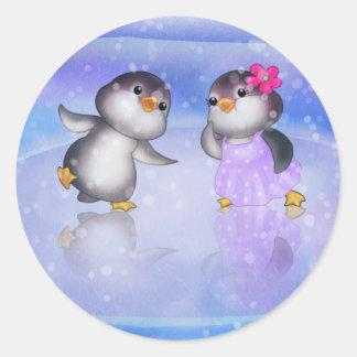 ¡Pingüinos! Pegatina Redonda