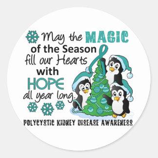 Pingüinos PKD del navidad Pegatina Redonda