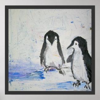 Pingüinos por la impresión del arte de Sarah Harri Póster