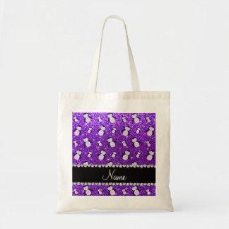 Pingüinos púrpuras personalizados del brillo del bolsa tela barata