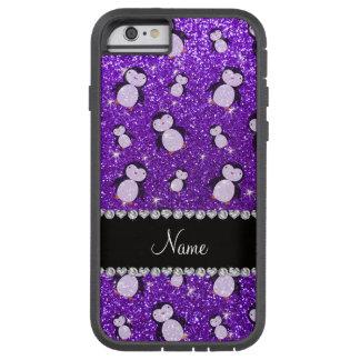 Pingüinos púrpuras personalizados del brillo del funda tough xtreme iPhone 6