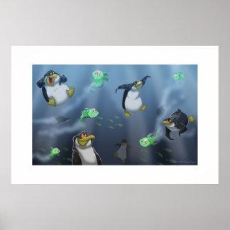 Pingüinos que cazan el poster