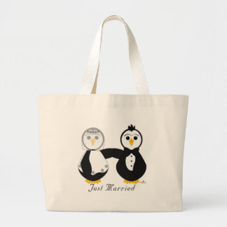 Pingüinos que consiguen casados apenas casado bolsa de mano