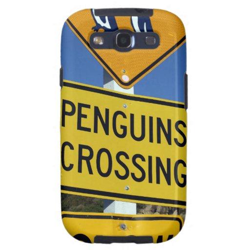 Pingüinos que cruzan la señal de tráfico amarilla galaxy SIII coberturas