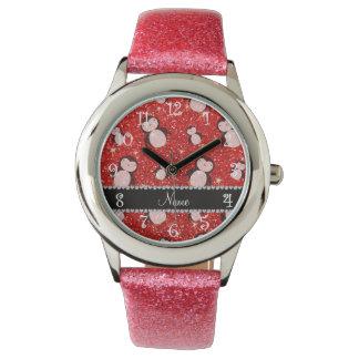 Pingüinos rojos de neón conocidos personalizados relojes de pulsera