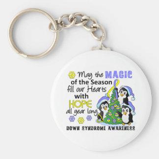 Pingüinos Síndrome de Down del navidad Llavero Redondo Tipo Pin