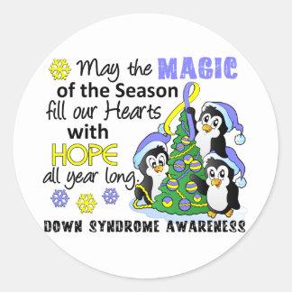 Pingüinos Síndrome de Down del navidad Pegatinas Redondas